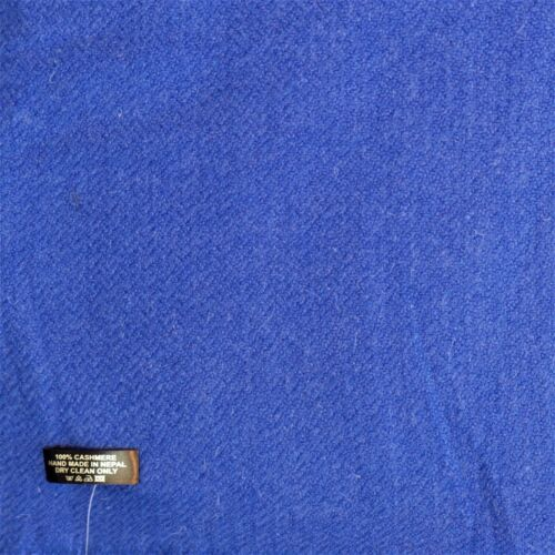 Blanket//Throw 100/% Cashmere Hand Loomed Nepal Mini Herringbone Royal Blue