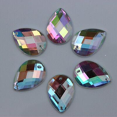 18*25mm AB Crystal Drop Acrylic Flatback Rhinestone Sew on 2 Hole ZZ230