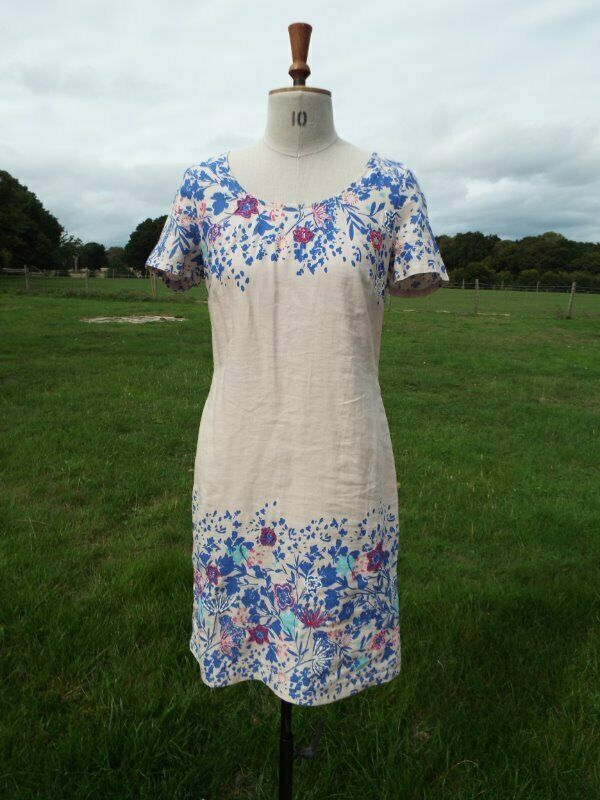 Natural Mix Linen Blend Embroidered Dress Lined PER UNA Size 10 BNWT RRP