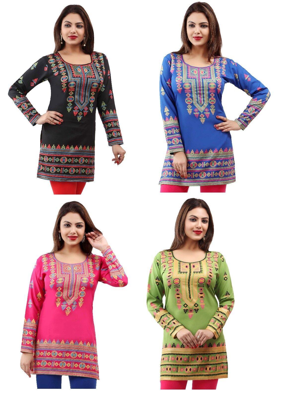 85+ Sold TOP DRESS PRINTED SHORT INDIAN KURTA KURTI TUNIC PRINTED SHIRT 161(A-D)