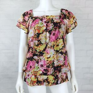 Dressbarn-Size-Large-Womens-Blouse-Top-Short-Sleeve-Pink-Yellow-Floral