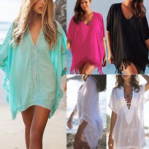 Women-Lace-Crochet-Bikini-Cover-Up-Swimwear-Bathing-Suit-Summer-Beach-Mini-Dress