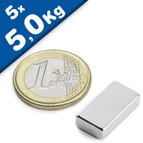 5 pièces force 5 kg Nickelé Aimant Bloc 18 x 10 x  5mm Néodyme N45SH