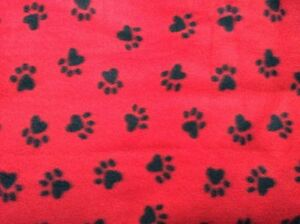 Black Dog Paw Prints With Red Background Fleece Fabric 60