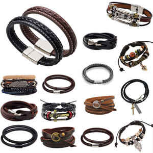 Mens-Fashion-Black-Genuine-Leather-Silver-Stainless-Steel-Charm-Bracelet-Bangle