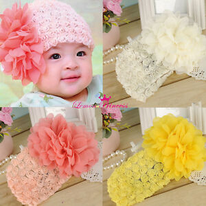 Lace Toddler Big Flower Headbands Baby Hair Band Kids Hairnet Girl ... 622a2c06c0b