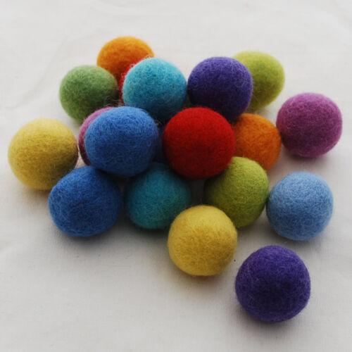 100/% Laine Felt Balls 30 Feutres Balls-Assortiment Rainbow Couleurs 3 cm