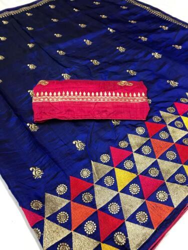Heavy Sana Silk Saree Blouse Set Ethnic Indian Bollywood Royal Wedding Wear Sari