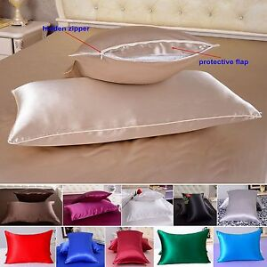 1pc 40 Momme 100% Pure Mulberry Silk Pillow Cases Cushion Covers Zipper Closure