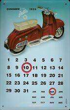 Zündapp Motorroller 1955 Kalender Blechschild 3D geprägt Tin Sign 20 x 30 cm