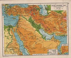 1928 MAP ~ SOUTH WESTERN ASIA ~ | eBay