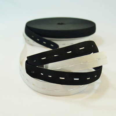 19mm or 25mm Black or White Button Hole Elastic Available in 16mm