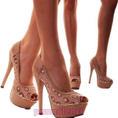 Tacchi El0278 Scarpe Ricamo Pizzo Donna Spuntate 2 Nuove Alti Sandali Decolletes xq46x71