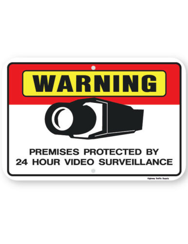 Warning Premises Protected By 24 Hour Video Surveillance Sign horizontal