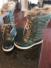 SOREL Joan of Arc Ladies Winter Snow Boots Fur sz. 6 NEW Olive BLACK