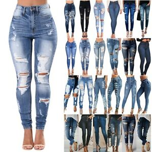 Women-039-s-High-Waist-Skinny-Denim-Jeans-Pants-Ripped-Stretchy-Jeggings-Trousers-US