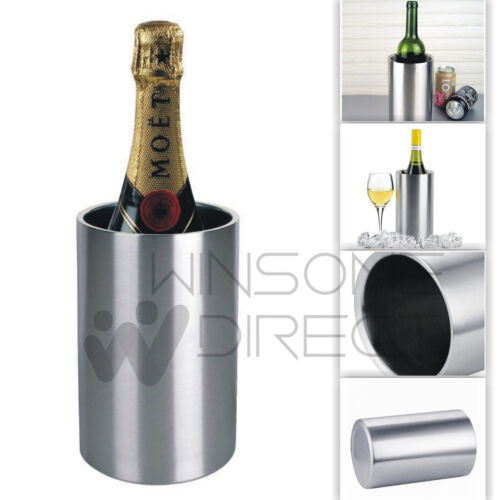 Stainless Steel Double Walled Wine Bottle Cooler Champagne Chilled Ice Bucket