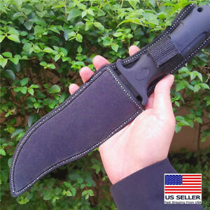 Knife FixedBlade Survival Tactical Knives Bowie Tang Black Steel Outdoor hunting