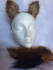 Cougar Ears And Tail One Size Unisex Clip On Tail Light Brown Fur Fancy Dress