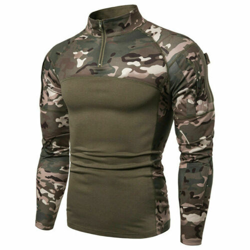 Men Army Combat Tactical T Shirt Military Camouflage Fitness Long Sleeve Tops