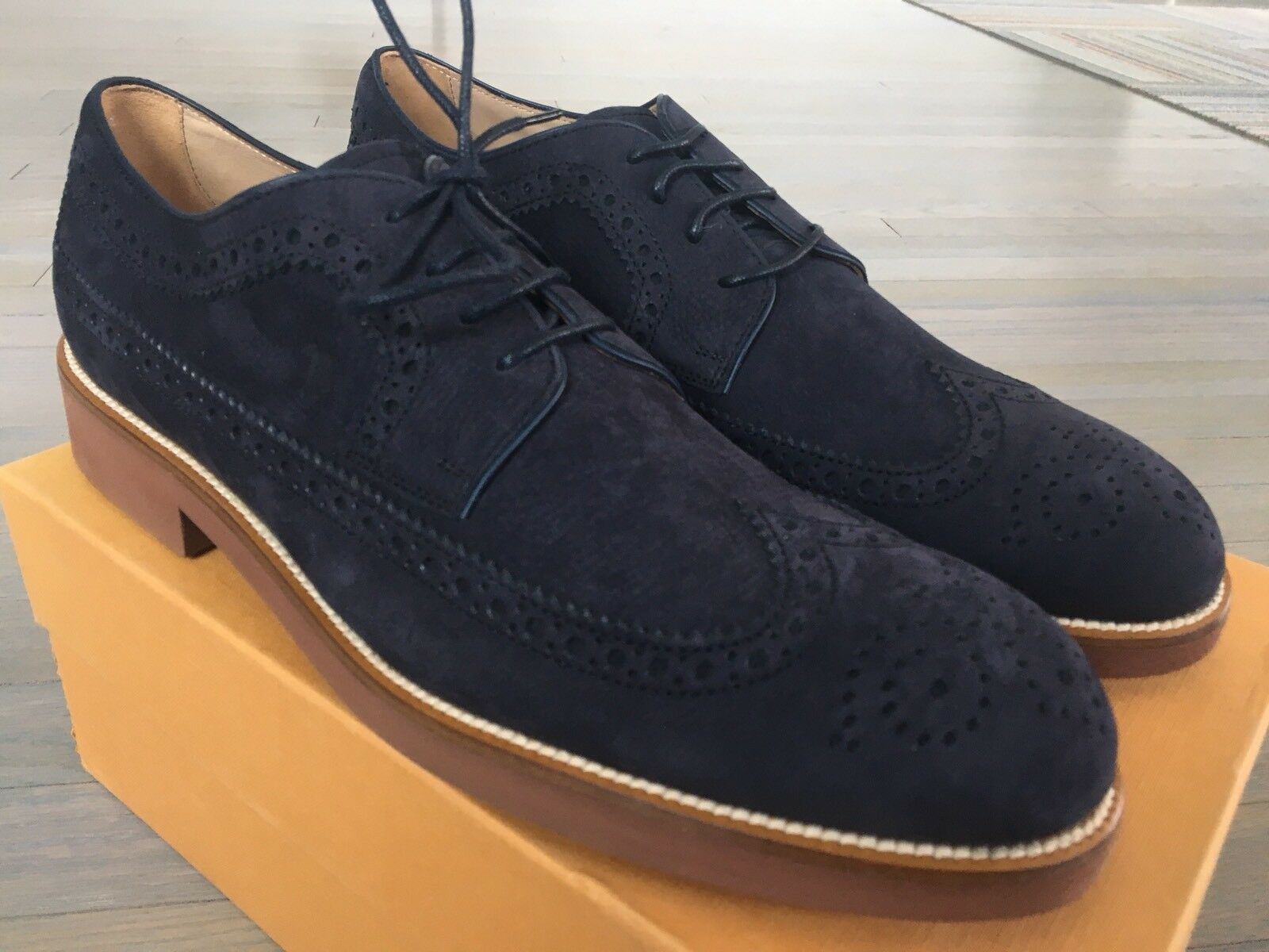 550  Tod's Blue Suede Derby Bucature Suede Blue Laces Up Size   13 Made In Italy 88c5b0