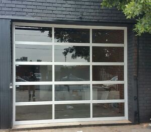 Full View 12 X 8 Anodized Aluminum Tempered Clear Glass Garage Door Ebay