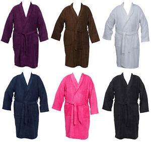 Womens Mens 100 Cotton Towelling Dressing Gown Plain Wrap Plus Size