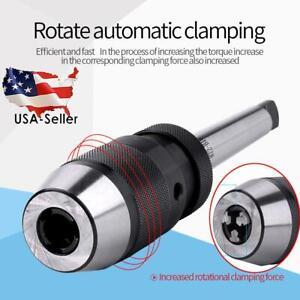 1-13mm-Steel-Self-Tighten-Keyless-Lathe-Drill-Chuck-MT2-B16-Arbor-Live-Center-US