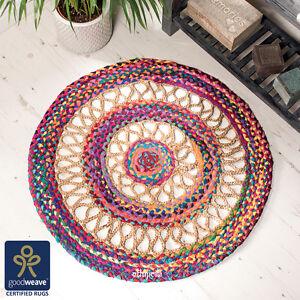 Comercio-Justo-90cm-Redonda-Multicolor-Arco-Iris-Telar-Manual-yute-amp-Algodon-Trenzado-de-alfombra