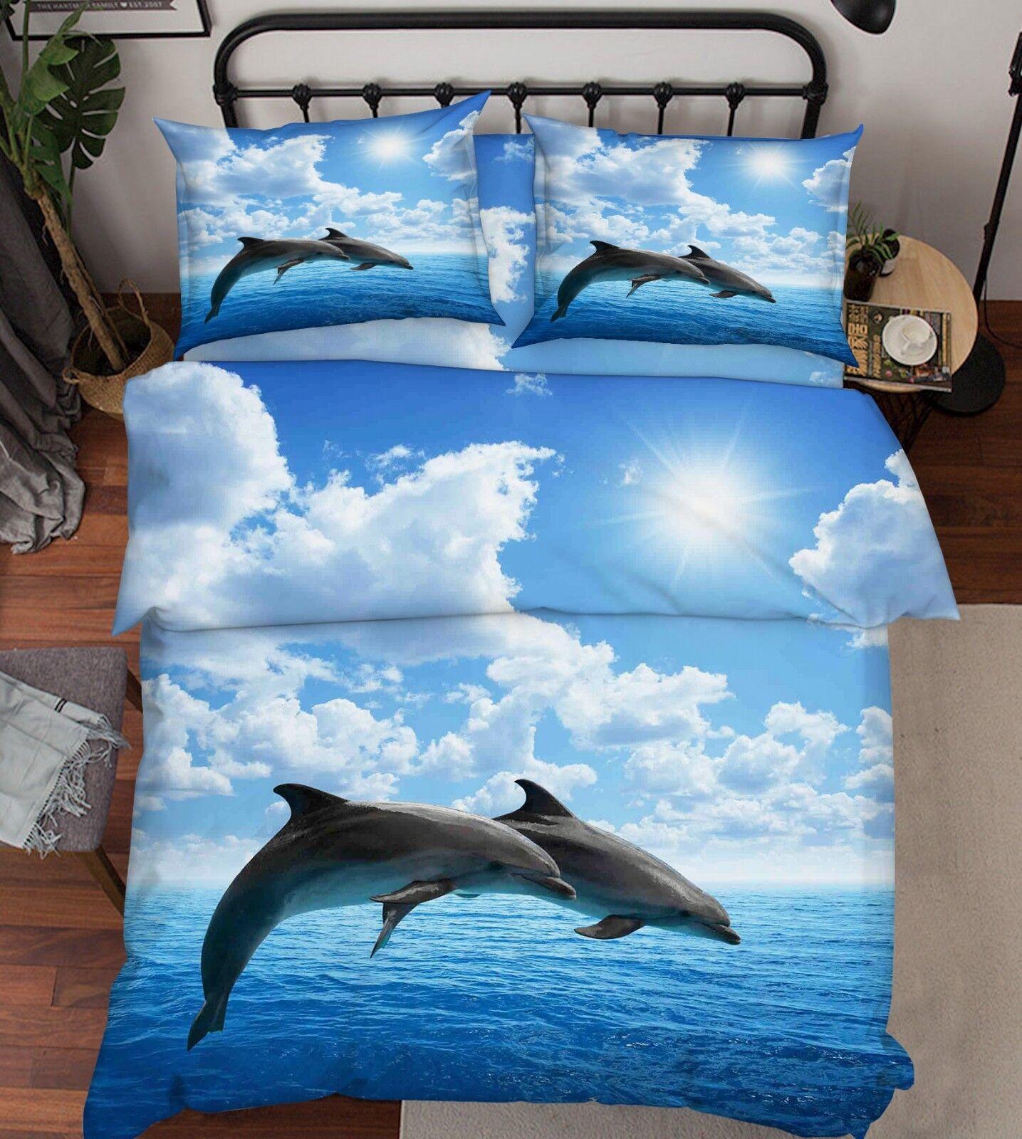 3D Dolphin Ocean Sky 3 Bed Pillowcases Quilt Duvet Cover Set Single Queen King