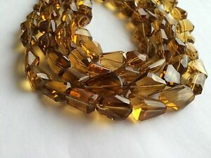 """WHISKY QUARTZ FACETED NUGGETS BEADS 15.5"""""""