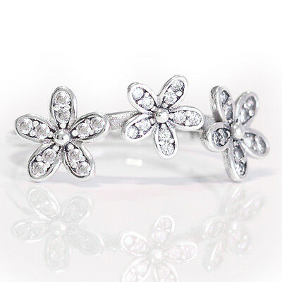 Triple Daisy Ring 925 Solid Sterling Silver Pave Stacking Flower Size 54 / 7