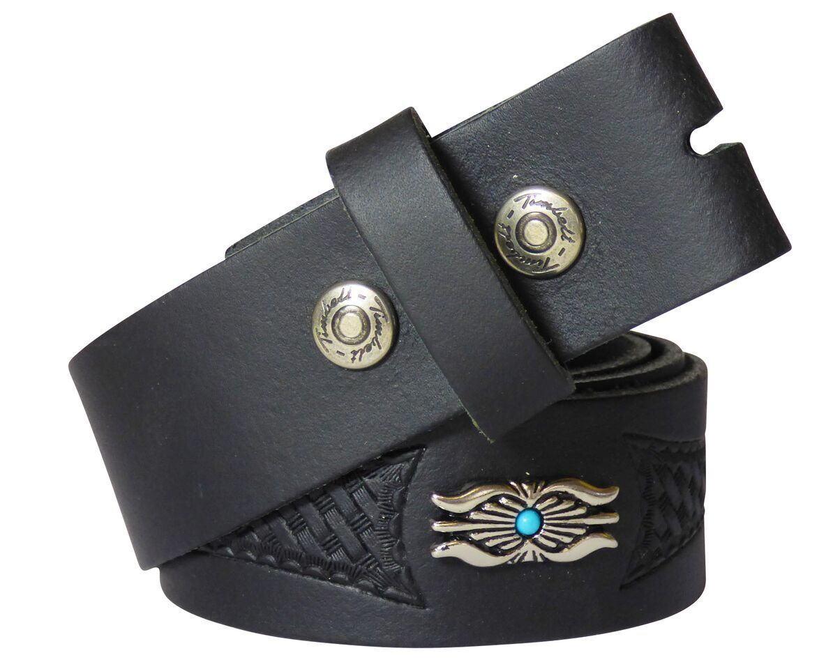 Belt Change Belt Western Belt Real Leather Black g.70-140 Concha Turquoise