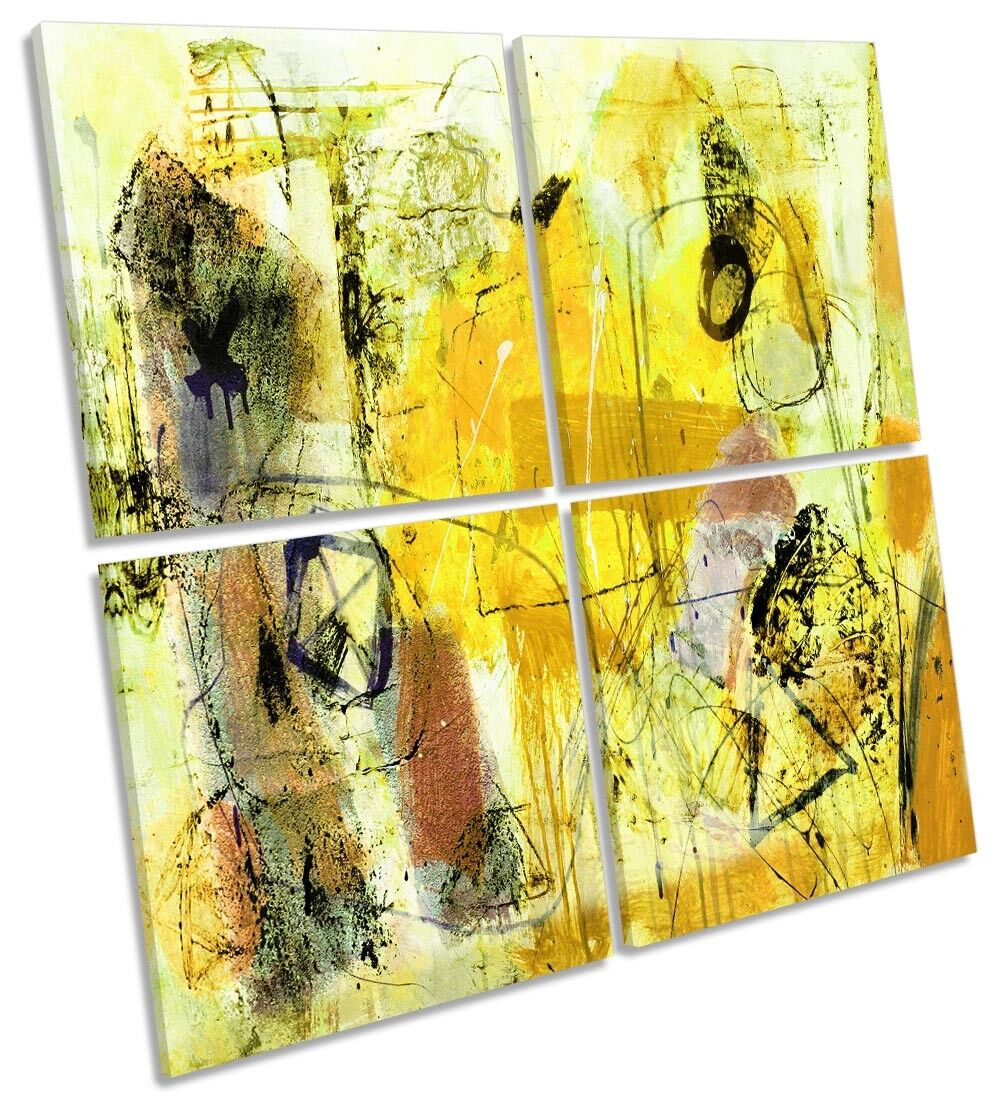 Gelb Abstract Grunge Style MULTI CANVAS WALL ARTWORK Square Art
