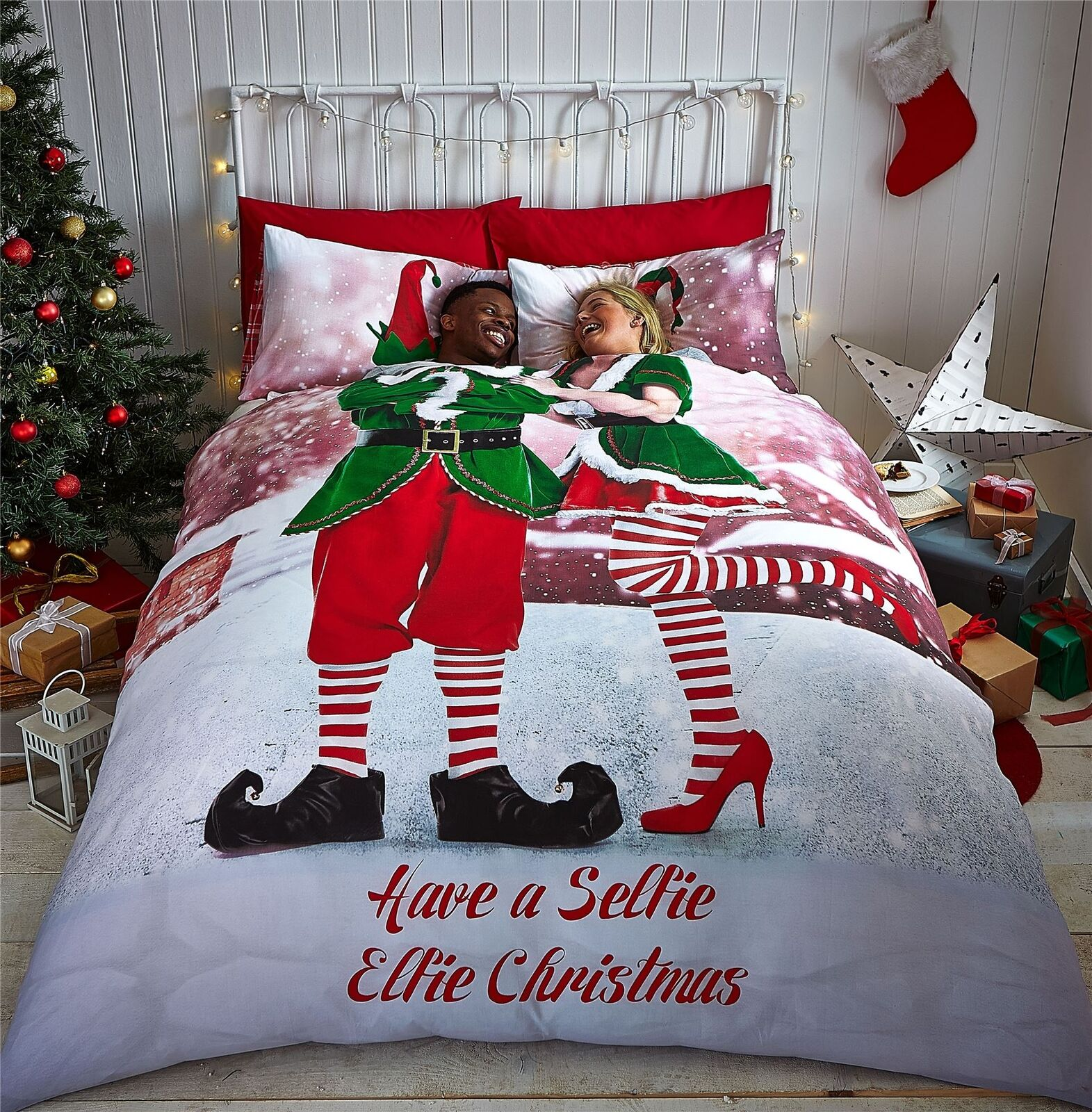 Weihnachten Elfen Dach green red white Doppelbett Bettwäsche