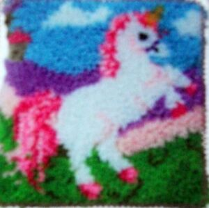 Image Is Loading Latch Hook Rug Pillow Kit 034 A Unicorn
