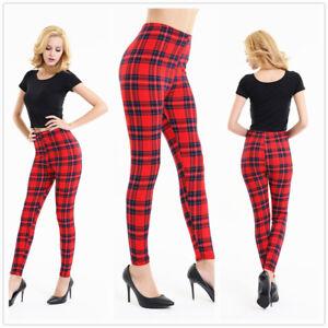 Tartan Scotish Checker Printed Fun Women's Leggings One size UK 8-12