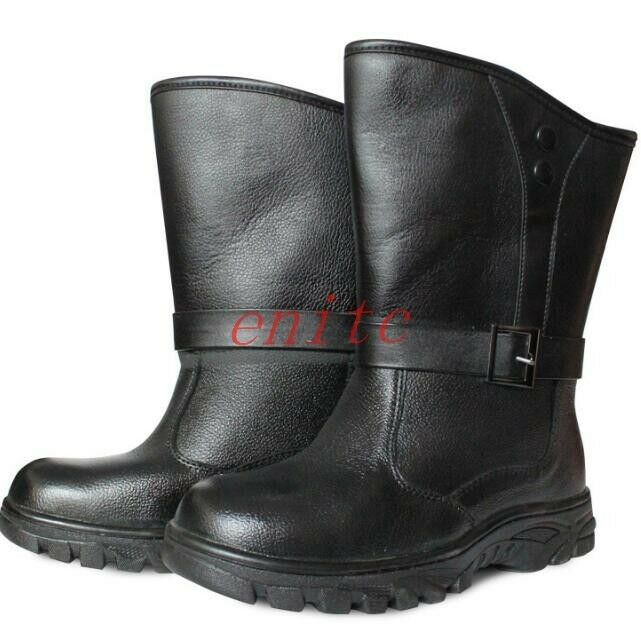 Pu Leather Fur Lining Casual Mens Mid-calf Boots Work Shoes Working Boots Size