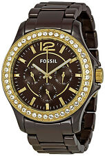 Fossil CE1044 Riley Multi Functions Women's Brown Ceramic Watch New in Box