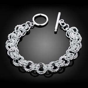 NEW-SHIMMERING-925-Silver-Multi-Link-Fob-Bracelet-20cm