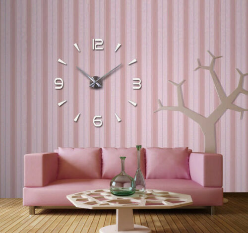 Radius adjusts to Your Liking Frameless Large 3D DIY Sticker Silver Wall Clock