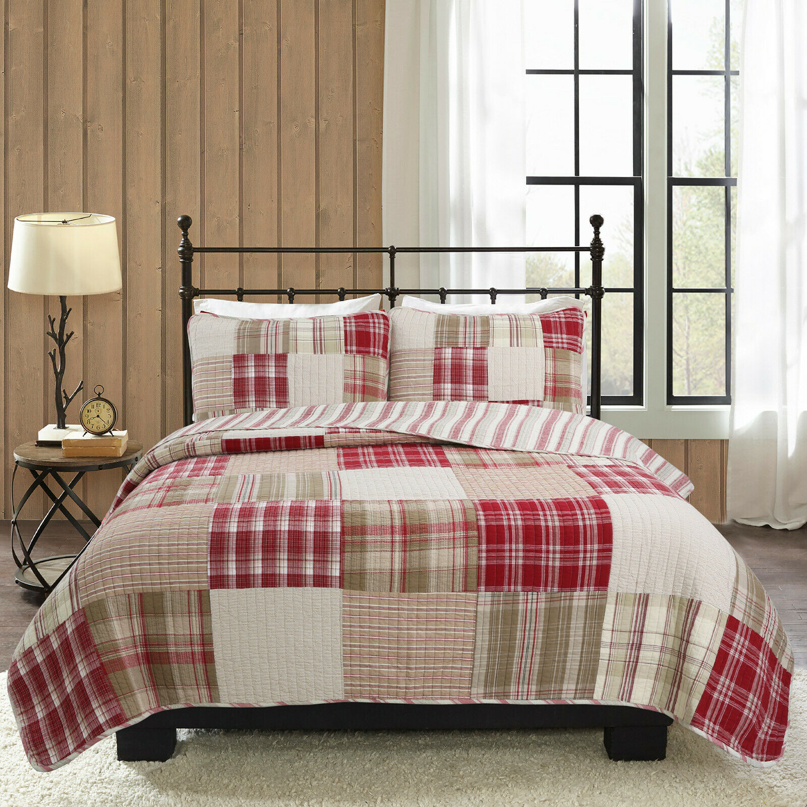 Alivia rot braun Patchwork 100% Cotton Reversible Bedding Quilt Set, Coverlet