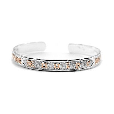 925 Sterling Silver Hawaiian Bangle Bracelet Kuuipo Engraved Cuff Rose Gold Ebay