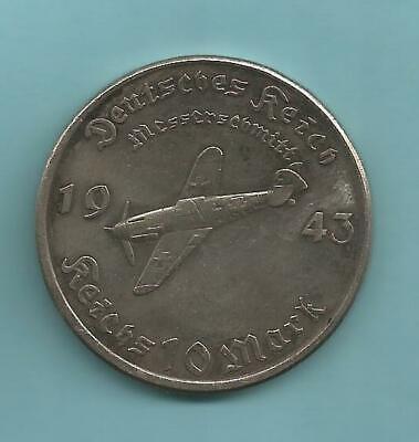 *** German  WW II Exonumia Coin ***  Messerschmitt Bf 109-1943 .