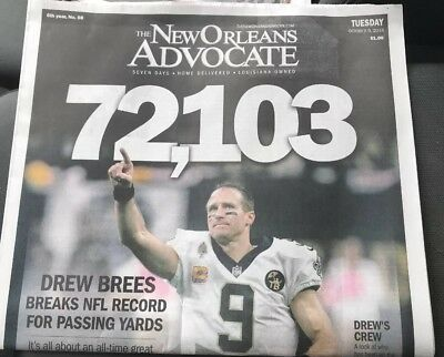 NEW ORLEANS SAINTS DREW BREES TIMES PICAYUNE NEWSPAPER 12-27-2011 PASSING RECORD