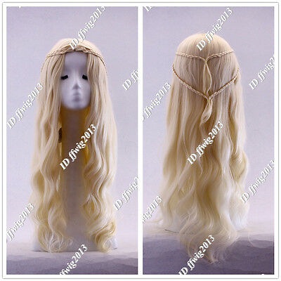 Game of Thrones Daenerys Targaryen Blonde Fluffy Long Synthetic Cosplay Wig Gift