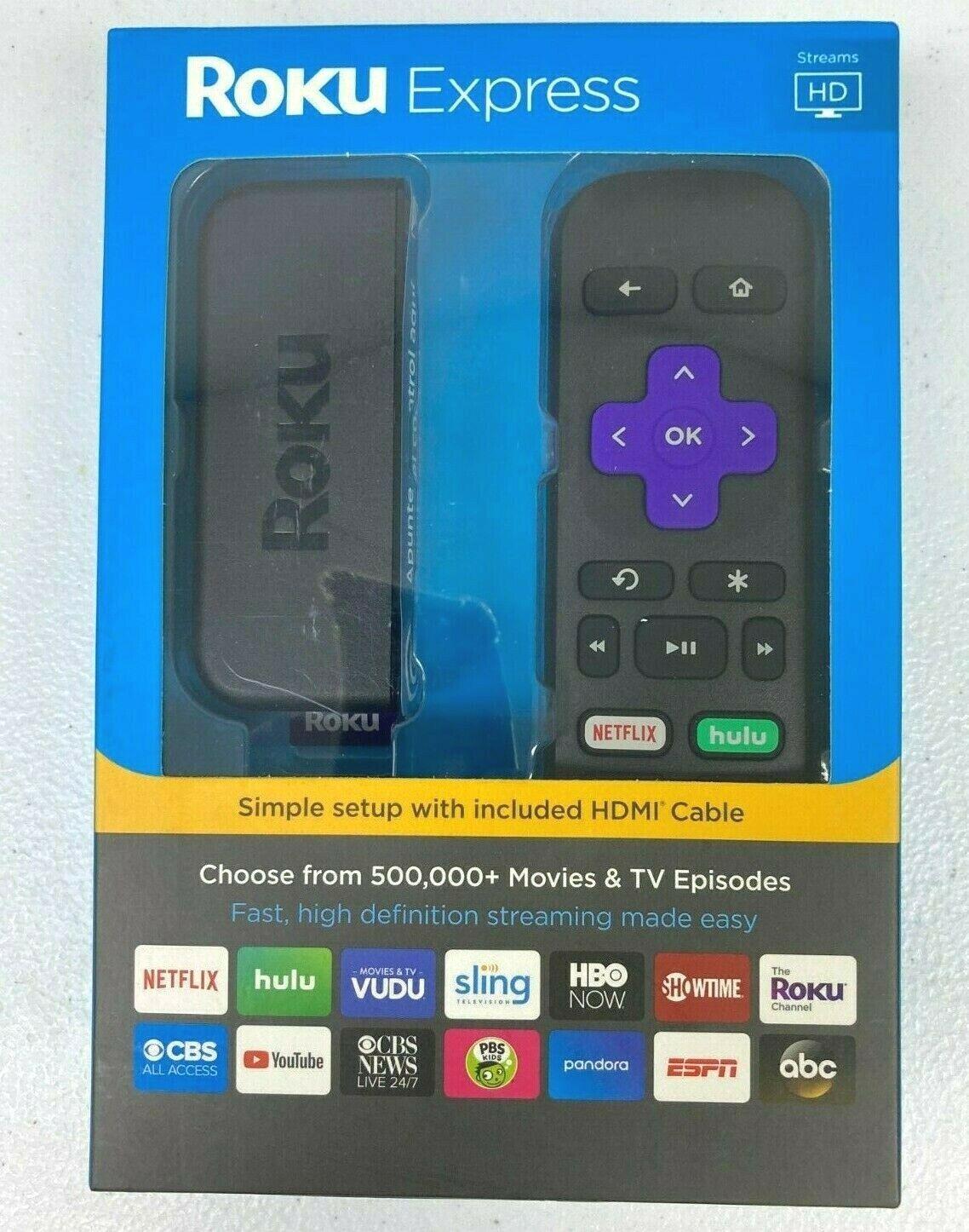 Roku Express HD Media Streamer 3900RW - Black Streaming Media Player 2019 *NEW* 3900rw black express media player roku streamer streaming