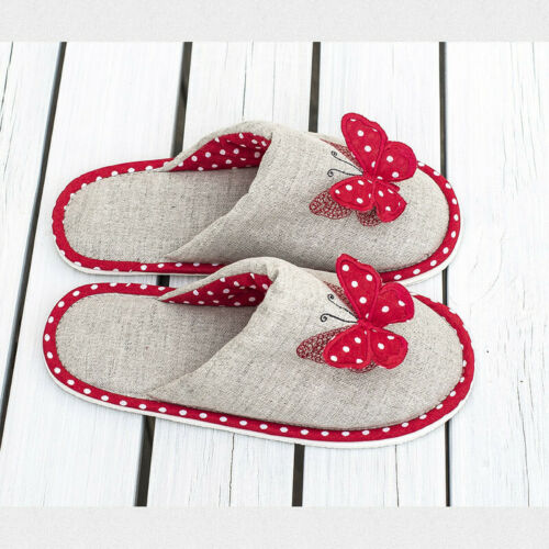 Women/'s Gray Closed Toe Slippers with Red Butterfly Polka Dot Pattern