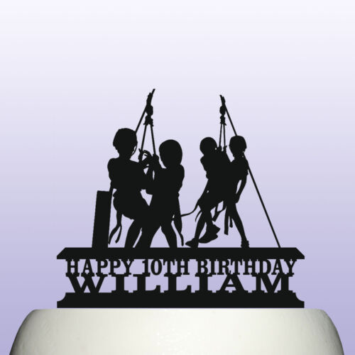 Personalised Acrylic Childrens Zip Wire Line Kids Party Birthday Cake Topper