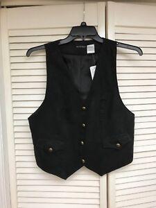 Bay-Studio-Black-Faux-Suede-Button-Front-Vest-Sz-Large-NWT